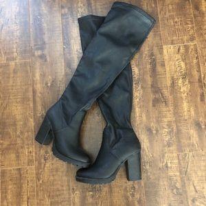 Leather platform heel boots